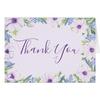 Purple Anemone Hyacinth Spring Thank You Card