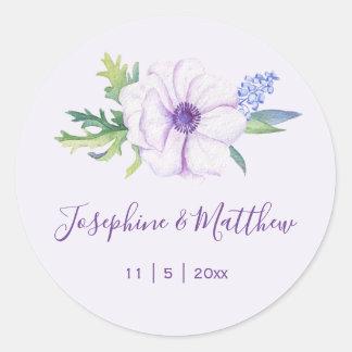 Purple Anemone Hyacinth Spring Wedding Classic Round Sticker