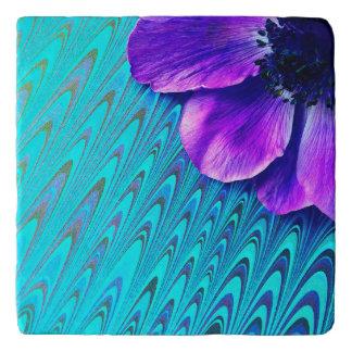 Purple anemone on patterned background trivet