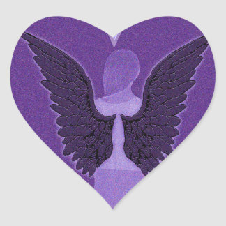 Purple Angel and Heart Heart Sticker