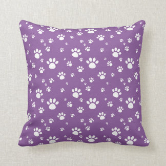 Purple Animal Footprints Pattern Throw Pillow