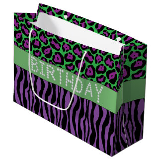 Purple Animal Print Diamond Birthday Gift Bag Lg