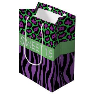 Purple Animal Print Diamond Sweet 16 Gift Bag