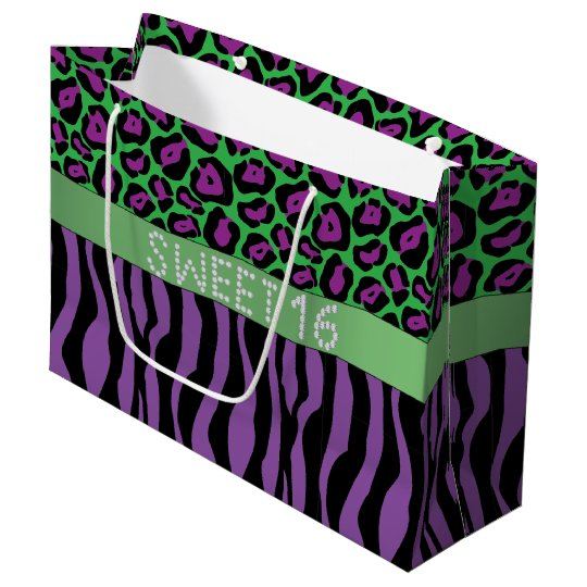 Purple Animal Print Diamond Sweet 16 Gift Bag L