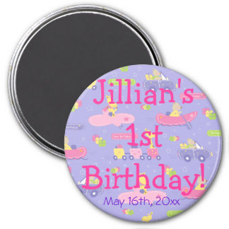 Purple Animals On The Go Girl Birthday Party Favor 3 Inch Round Magnet