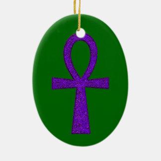 Purple Ankh Ceramic Oval Ornament