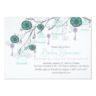 Purple & Aqua Birdcage Baby Shower Invitation