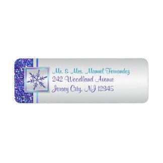Purple Aqua Glitter Snowflake Return Address Label