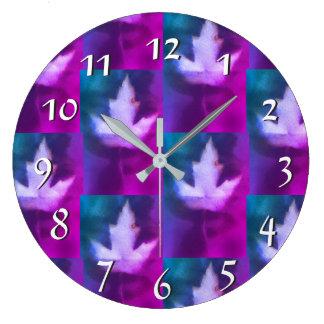 Purple Aqua Green Blue Colours Handmade Artisan Large Clock