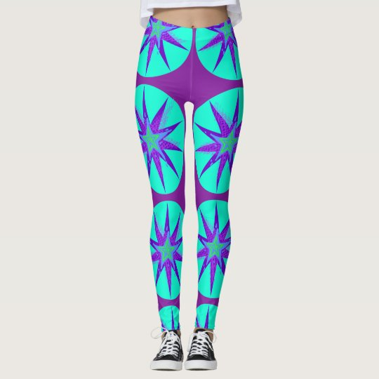 Purple & Aqua Star Leggings