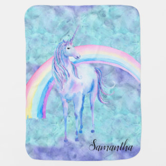 Purple Aqua Unicorn Dream Baby Blanket