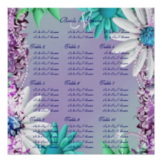 Purple aqua wedding seating charts posters
