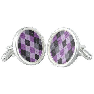 Purple Argyle Cuff Links