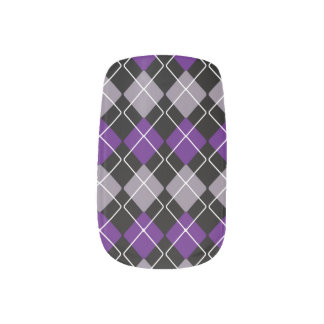 Purple Argyle Minx Nail Art
