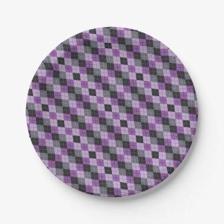 Purple Argyle Paper Plate