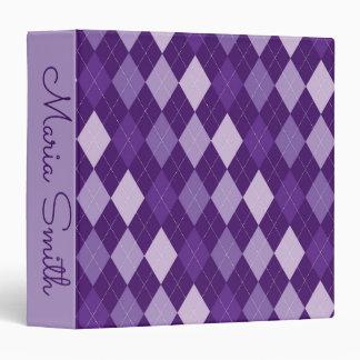 Purple argyle pattern 3 ring binders