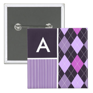 Purple Argyle Pattern Button