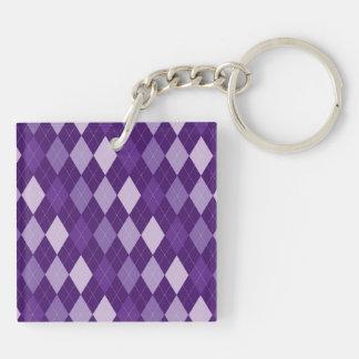 Purple argyle pattern Double-Sided square acrylic keychain