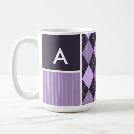 Purple Argyle Pattern Coffee Mug