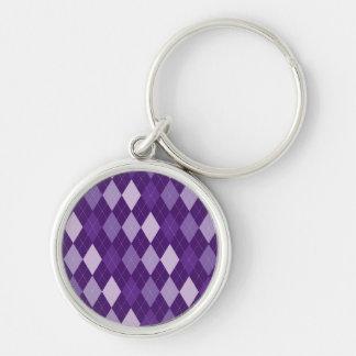 Purple argyle pattern Silver-Colored round keychain