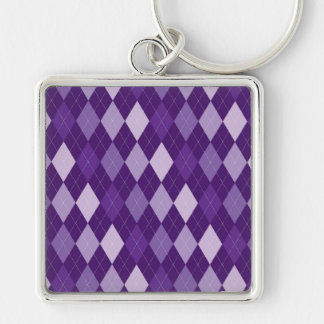 Purple argyle pattern Silver-Colored square keychain