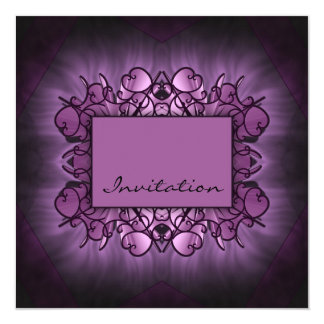 """Purple Art 5.25"""" Square Invitation Card"""