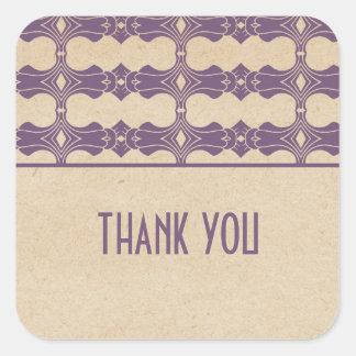 Purple Art Deco Border Thank You Stickers