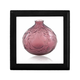 Purple Art Deco glass vase depicting pears. Gift Box