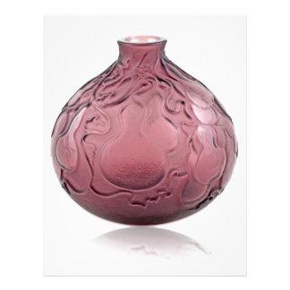 Purple Art Deco glass vase depicting pears. Letterhead