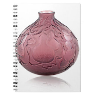 Purple Art Deco glass vase depicting pears. Notebook