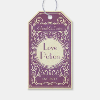 Purple art deco love potion apothecary label pack of gift tags