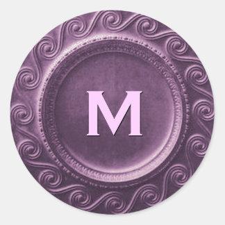 Purple Art Deco Wedding Monogram M Sticker