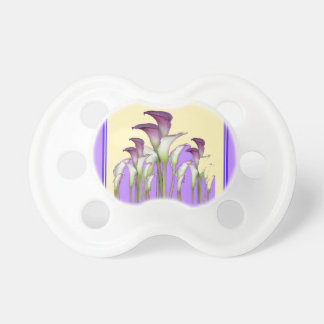 PURPLE ART  NOUVEAU CALLA LILY GARDEN ART PACIFIER