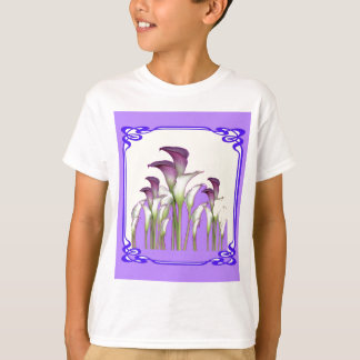 PURPLE ART  NOUVEAU CALLA LILY GARDEN ART T-Shirt