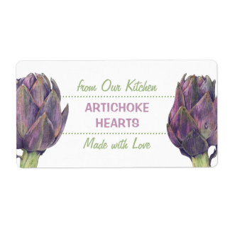 Purple Artichokes Kitchen Preserves Label Shipping Label