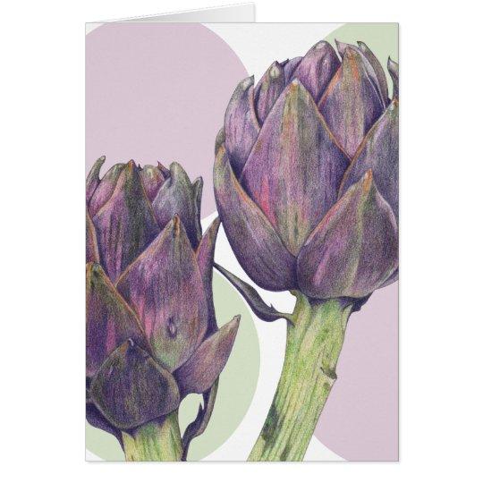 Purple Artichokes Note Card