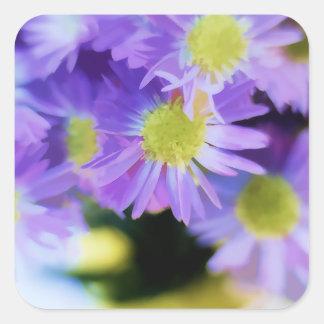 Purple Aster Bouquet Illustration Square Sticker