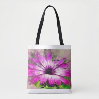 Purple Aster Flower Personalized Watercolor Tote