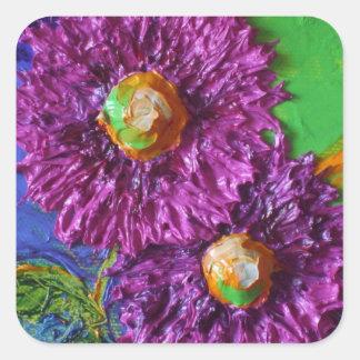 Purple Asters Round Sticker
