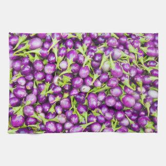 Purple aubergines kitchen towel