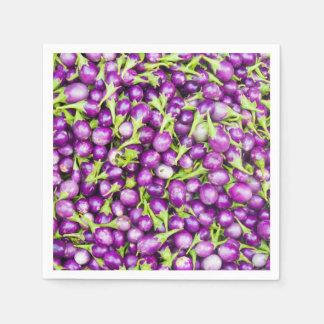 Purple aubergines paper napkin