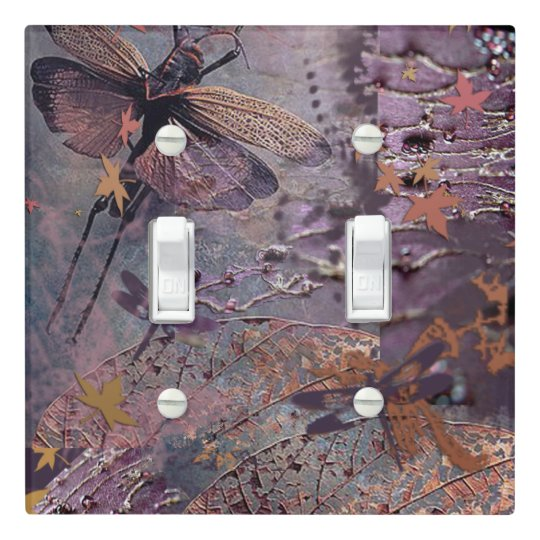Purple Autumn Dragonfly Double Switch Light Switch Cover