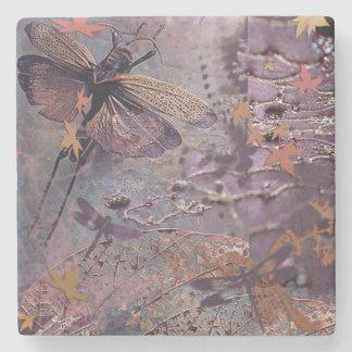 Purple Autumn Dragonfly Drink Coaster Stone Beverage Coaster