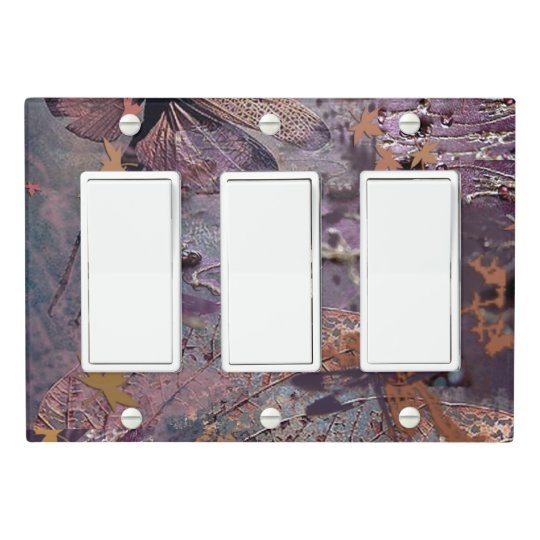 Purple Autumn Dragonfly Triple Rocker Light Switch Cover