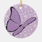 Purple Awareness Butterfly Ceramic Ornament