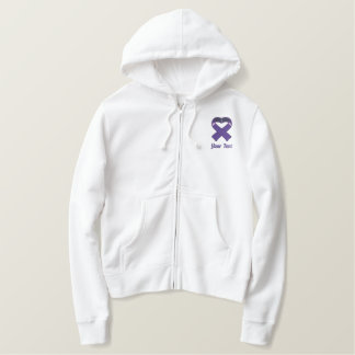 Purple Awareness Ribbon Embroidered Shirt