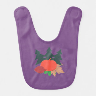 Purple Baby Bib with Pine Trees, Pumpkin & Leaves