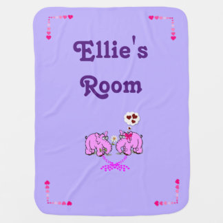 Purple Baby Blanket w/Cute Pink Elephants in Love