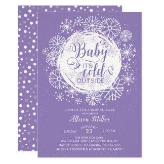 Purple Baby It's Cold Outside Invitation
