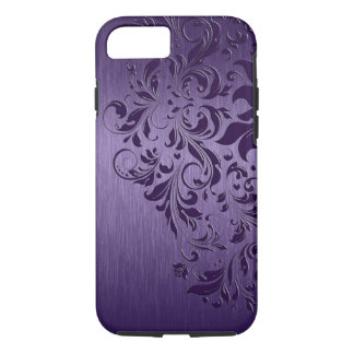 Purple Background With Deep Purple Floral Lace Case-Mate iPhone Case